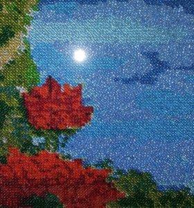 """Картина из бисера """"Розы на скале"""""""
