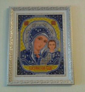 """Икона """"Казанская Богородица"""", вышита бисером."""