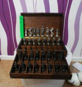 Антикварные, старинные оловянные шахматы