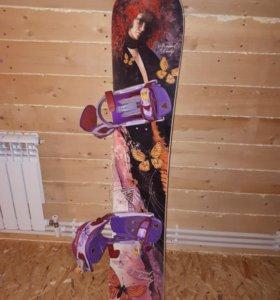 Сноуборд с креплениями, ботинки