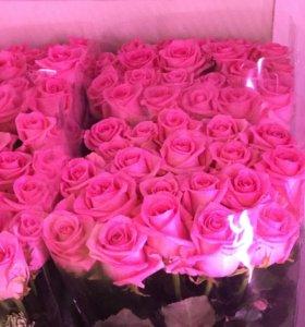 Розы розовые высокие спб