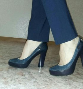 Туфли 35-36 р-р натуральная кожа+велюр
