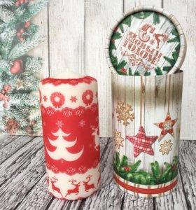 Новогодняя свеча в подарочной упаковке