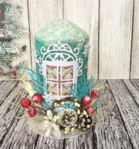 Новогодняя свеча, подарок на новый год