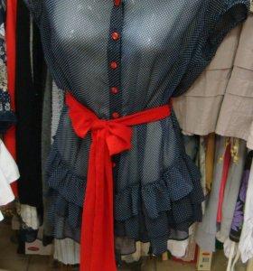Шифоновая рубашка с красным бантом