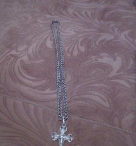 Цепочка серебряная с крестиком