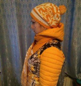 Куртка + шапка + шарф демисезонная +-15