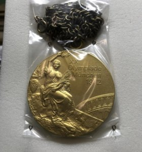 Наградная золотая олимпийская медаль Мюнхен 1972 г