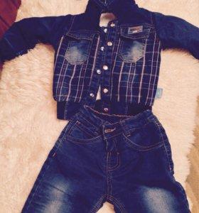 Турецкий новый Тёплый джинсовый костюм отличное ка