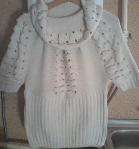 Женский теплый свитер с большим воротником!