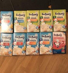 Каша молочная, безмолочная, смесь беллакт