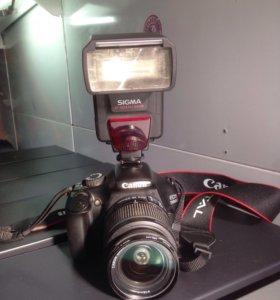 Фотоаппарат Canon EOS 1100D + вспышка SIGMA EF-610