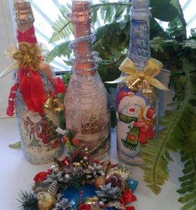 Декор, декупаж бутылок новогодний