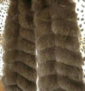 Меховой жилет песец шуба песцовая жилетка