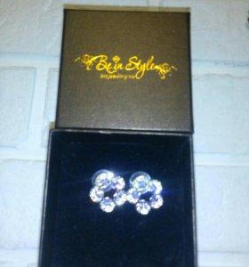 Новые! Серьги magik ring с кристаллами swarovski