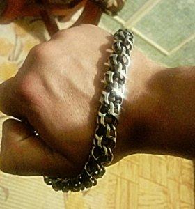 Массивная новая серебряная цепь с чернением