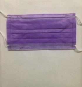 Маска медицинская фиолетовая 50шт