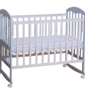 Кроватка детская+матрас+ бортики+муз. карусель