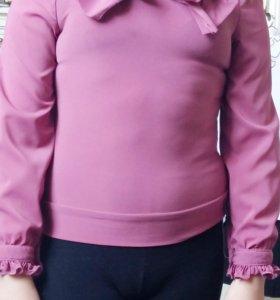 Школьная блузка бордовая красивая 8-9 лет