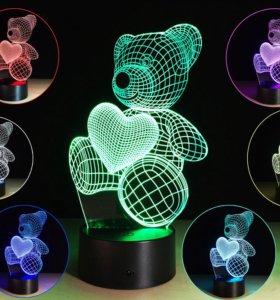 3D ночник с белой подсветкой
