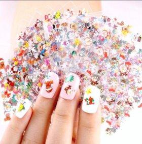 Новогодние наклейки на ногти