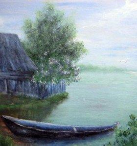 """Лодочка"", картина гуашью"