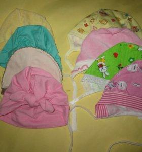 Детские шапочки, чепики, вещи от 0 до года.