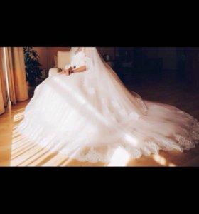 Свадебное пышное платье, кружевной корсет