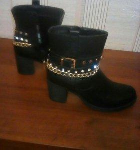 Ботинки высокие чёрные,39, обмен