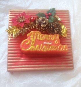 Свечка с подставкой рождественская
