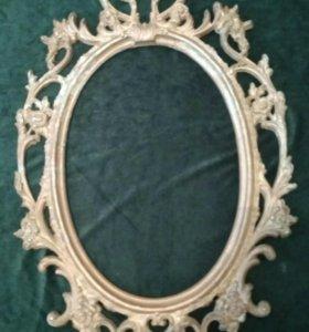 Рама для зеркала большая  металл под бронзу