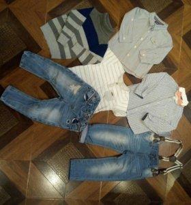 Рубашки джинсы, брюки, футболка zara ,mothercare