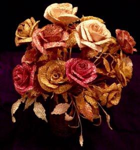 Розы, авторская работа. Пшеничная соломка