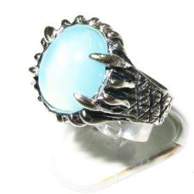 """Серебряное кольцо """"Андромеда"""" с голуб.халцедоном"""