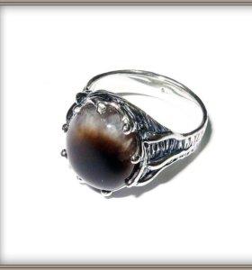 """Серебряное кольцо """"Капуччино"""" с натур.опалом"""