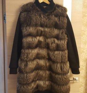 Пальто Енот с шапкой и сапожками