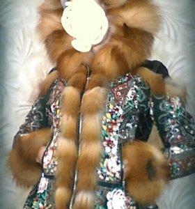 Куртка из павлопосадского платка с лисой