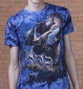 Мужская футболка 3D «Волчья семья».