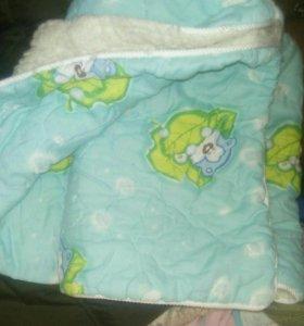 Детское одеялко с иск. мехом, бу