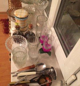 Много посуды