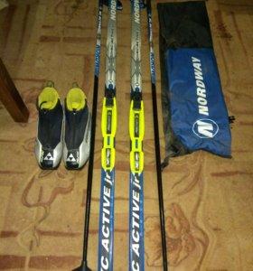 Лыжи 170 см, крепление, ботинки, сумка для лыж.