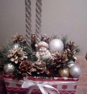 Коробочки с новогодней композицией