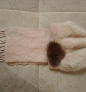 Шапка и шарф из ангорки