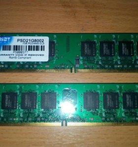 Оперативная память.Patriot1GB PS2-6400CL5(1+1-2GB)