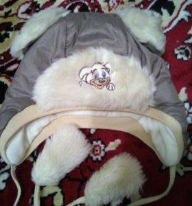 Зимняя детская шапочка+ новые варежки в подарок