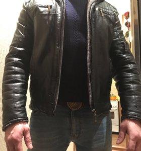 Куртка кожаная мужская зимняя . Размер 46