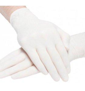 Перчатки нитриловые белые 4гр плотные 100шт