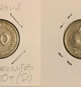 Монета 50 пфеннигов, 1950 (D), Германия