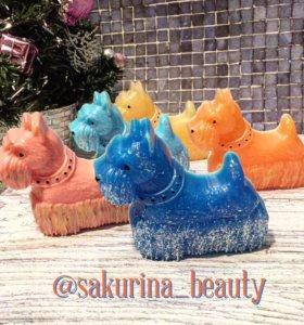 Мыло сувенир символ года цветные собачки!
