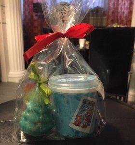 Новогодний подарок набор скраб+мыло елочка 3Д!